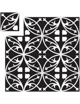 carreaux de ciment blanc et noir KP-346