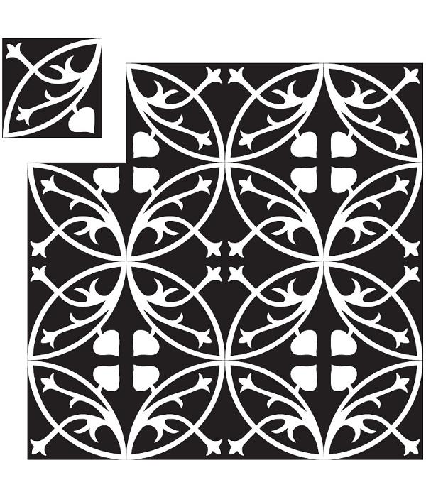 Carreaux de ciment blanc et noir Carreaux de ciment noir et blanc